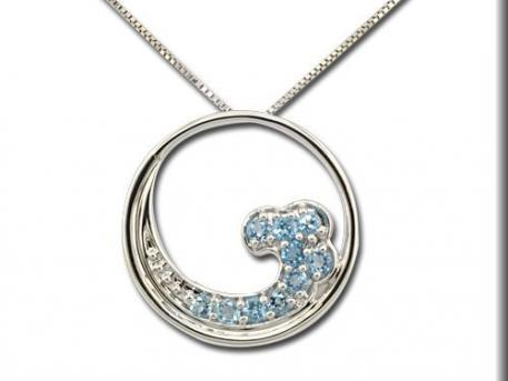 Blue Topaz Wave Pendant by The Wave Collection